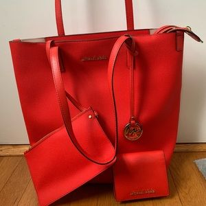 New Michael kors Janie Tote AND NWT Wallet Sangria